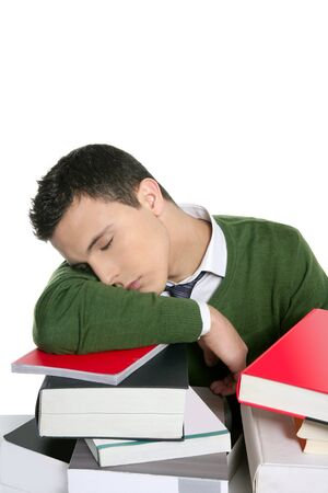 boy student sleeping over stack books over desk, green shirt and tie Stock Photo - 4439785