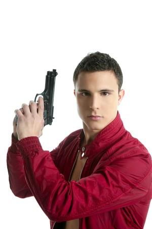 investigators: Handsome sexy private spy agent portrait with gun isolated on white