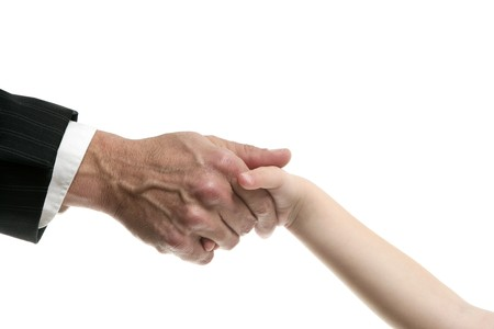 Businessman father giving hand to a child isolatede on white Stock Photo - 4451102