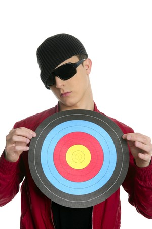 Modern young boy with target on his body, sunglasses photo