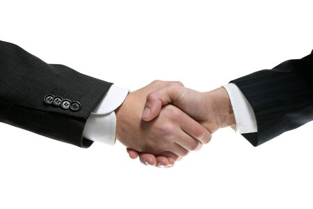shake hands: Businessman teamwork partners shaking hands with suit