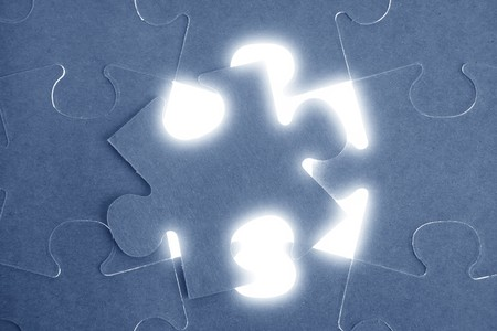 conection: Blue puzzle, communication teamwork metaphor, conection challenge