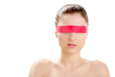health symbols metaphors: Beautiful cosmetic woman clean portrait, with red tape in eyes