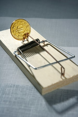 Euro currency business metaphor. Credit money is a mouse trap photo