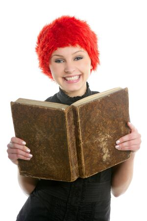Happy funny student beautiful girl with orange wig and old book Stock Photo - 4484368