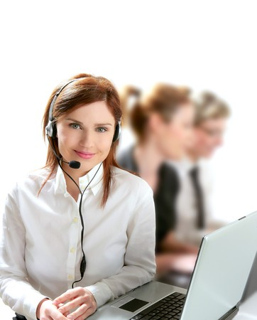 contact center: Business helpdesk with beautiful woman and headphones micro