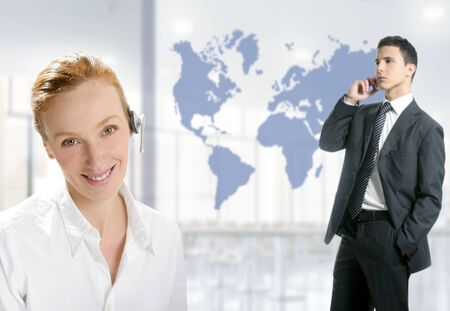 Modern helpdesk office with beautiful woman and handsome businessman photo
