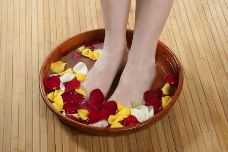 Aromatherapy, flowers woman feet bath, colorful rose petal Stock Photo - 4566703