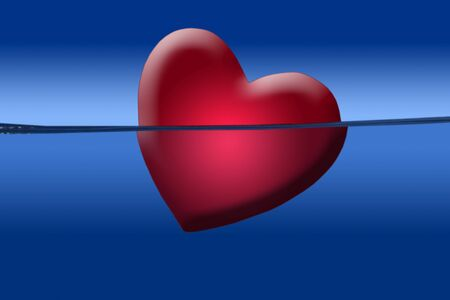 sinking: Red heart illustration shape sinking into the blue water side view