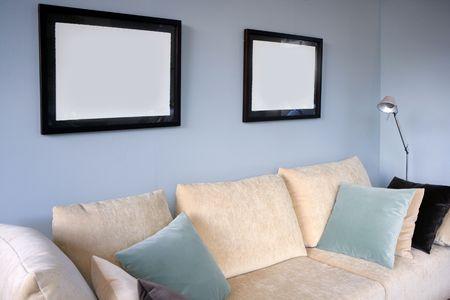 Living room with cream sofa, soft blue wall, interior design Stock Photo - 4609982