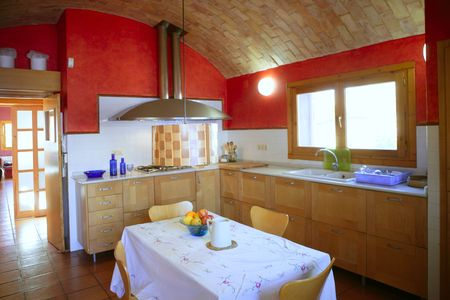 barrel tile: Kitchen with barrelt vault ceiling, red wall in mediterranean style