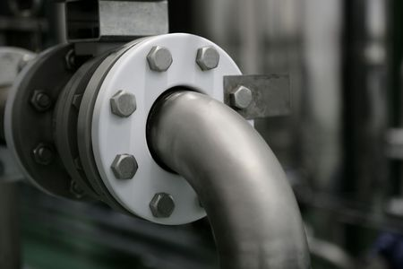 Industrial pipe connection detail, factory production plant Stock Photo - 4699052
