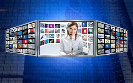 Beautiful news tv redhead woman on 3d display multi monitor photo
