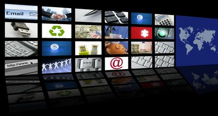 video tv screen technology and communication background Stock Photo