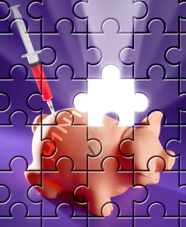 ah1n1: Puzzle with missing piece swine flu AH1N1 vaccine metaphor Stock Photo