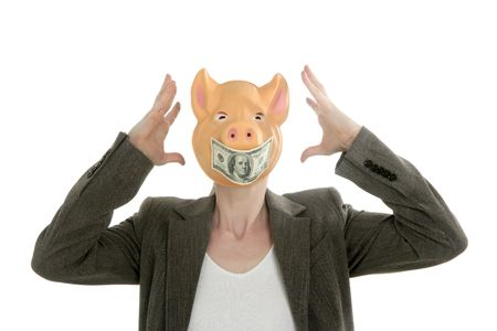 epidemic: Funny businesswoman with swine face and dollar note mask