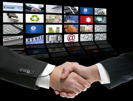 Businessman handshake over perspective screen wallpaper