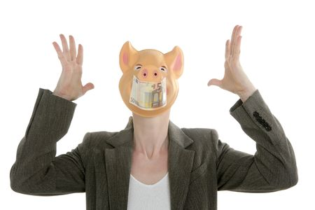 pandemic: Woman with swine face, Euro note mask, pandemic crisis