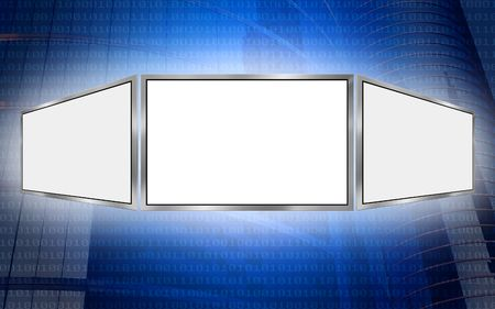 Global 3d screen multimedia monitor tech concept, white copy space photo