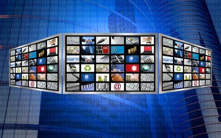 Global 3d screen televisie multimedia-tech concept, magisch blauw