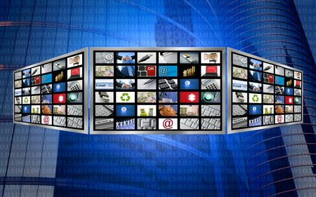 multi media: Global 3d screen television multimedia tech concept, magic blue Stock Photo