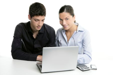 Young couple teamwork cooperation, white table with laptop Stock Photo - 4905809