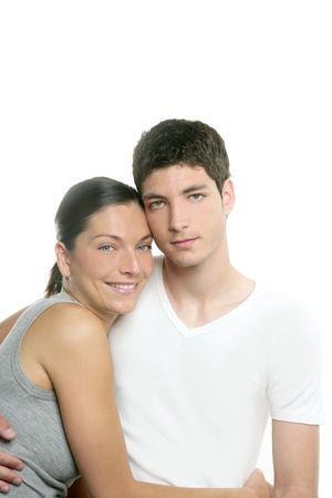 Beautiful young fresh modern couple hug over white background Stock Photo - 4905828