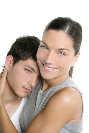 Beautiful young fresh modern couple hug over white background Stock Photo - 4905834