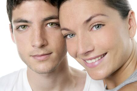 Beautiful young couple closeup portrait, two faces over white Stock Photo - 4905836