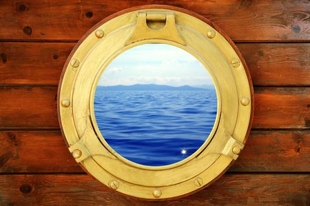 ship porthole: Boat closed porthole with seascape vacation ocean view