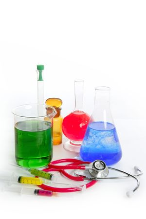 Chemical medical research laboratory with chemical colorful equipment photo