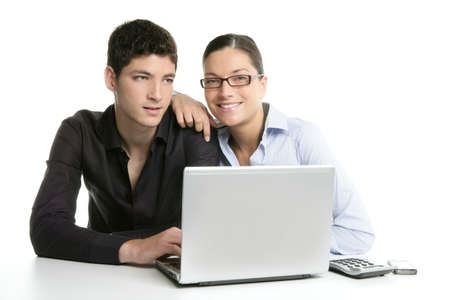 Young couple teamwork cooperation, white table with laptop Stock Photo - 4905850
