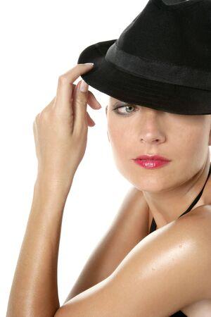 hat nude: Beautiful red lips woman portrait, black hat on studio white background Stock Photo