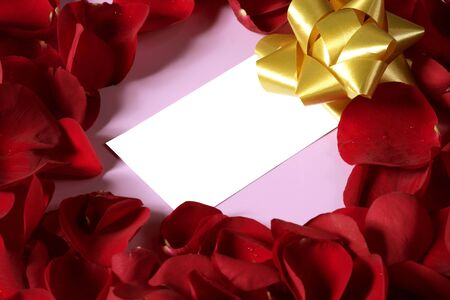 Red rose petals in heart shape with a copy space blank note Stock Photo - 4940714