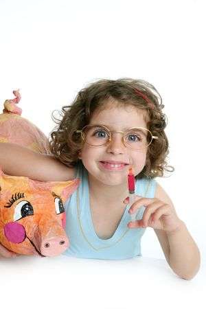 epidemic: Little girl pretending to be a veterinary with a pig, AH1N1 flu