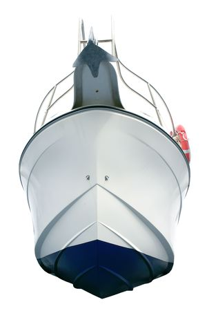 Beached white sport motor boat hull view from down isolated over white photo