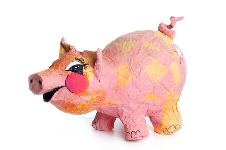 Cute little pink pig cartoon handmade toy isolated on white Stock Photo - 4979986
