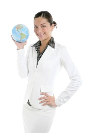 Businesswoman with white suit and global sphere map in her hand photo