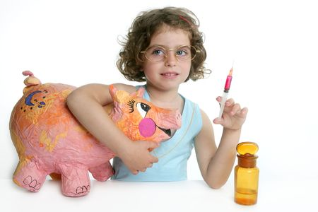 h1n1 vaccines: Little girl pretending to be a veterinary with a pig, AH1N1 flu
