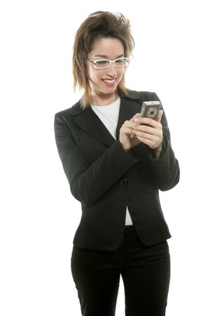 Businesswoman with mobile computer blackberry on her hand photo