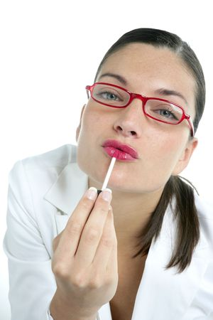 Beautiful businesswoman makeup with red lipstick white background photo