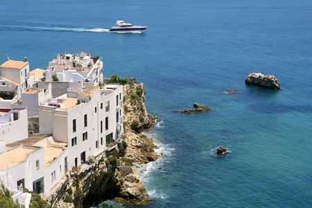 baleares: Ibiza view with nice Mediterranean sea and boats