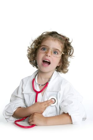 Cute little girl pretending to be a doctor with stethoscope over white Stock Photo - 5140528