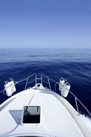 speed boat: Boat on the blue Mediterranean Sea yachting on a calm ocean Stock Photo