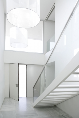 Home interior stair white architecture lobby house decoration photo