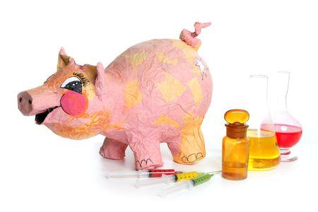 ah1n1: Beautiful little pink pig with medicine, swine AH1N1 flu metaphor