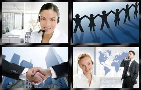 video wall: Futuristic tv video news digital screen wall with business concepts