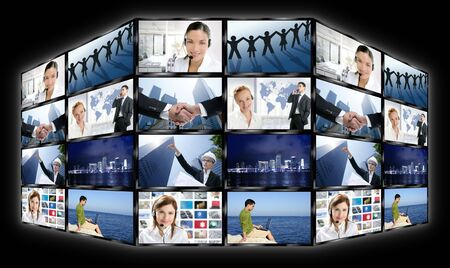 Black frame television multiple screen wall with business concepts Stock Photo - 5180681