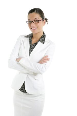 Attractive businesswoman with white suit portrait on studio Stock Photo - 5180623