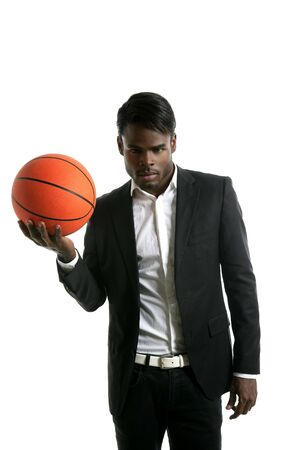 African american young businessman basketball ball in white studio Stock Photo - 5180695